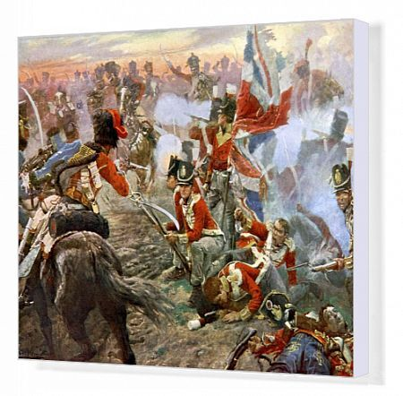 Battle of Quatre Bras - from painting by Vereker. battle between Wellington's Anglo-Dutch army and the left wing of the French Arme du Nord under Marshal Michel Ney during Hundred Days in Napoleonic Wars, 16 June 1815. Present - day Belgium