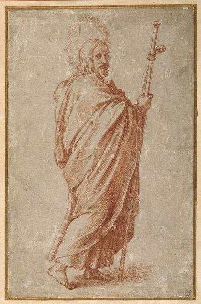 4073286 The Twelve Apostles: St. James the Greater, 1518-20 (chalk on paper) by Romano, Giulio (1492-1546); 19.8x12.9 cm; Collection of the Duke of Devonshire, Chatsworth House, UK; (add.info.: Previously attributed to Raphael); Italian