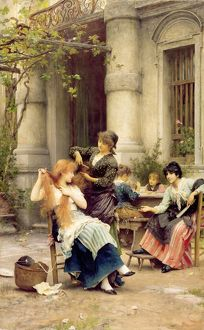 al fresco toilette 1889 oil canvas