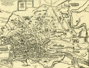Map of City of Rome and its ancient monuments - in 'Civitas Oreis Terrarum' by Braun