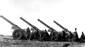 World War 2: Demonstration of field guns. Caption: 'Some of the big guns of B